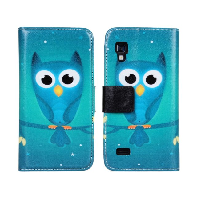Owl printed phone wallet leather flip case for lg optimus l9 p768