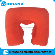 2016 fashion red pvc inflatable travel/airplane/rest neck piilow , flocked U-shape pillow
