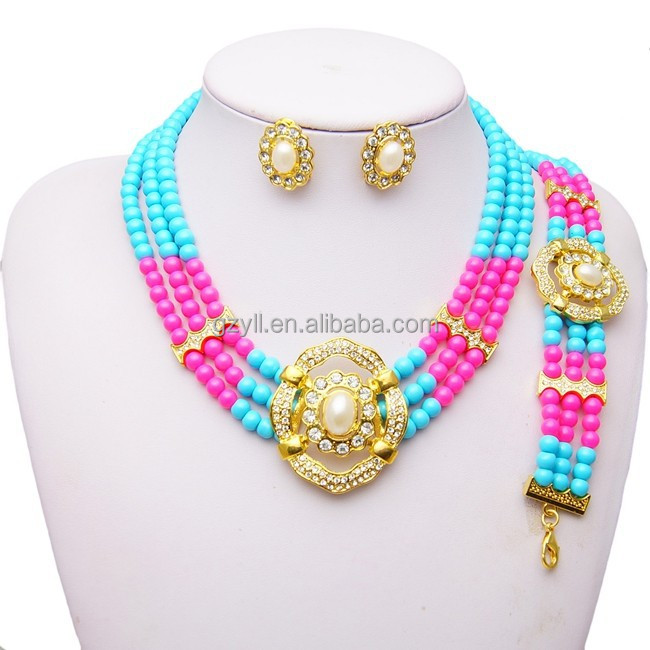 African jewelry colorful beads sets dubai beads jewelry for sale
