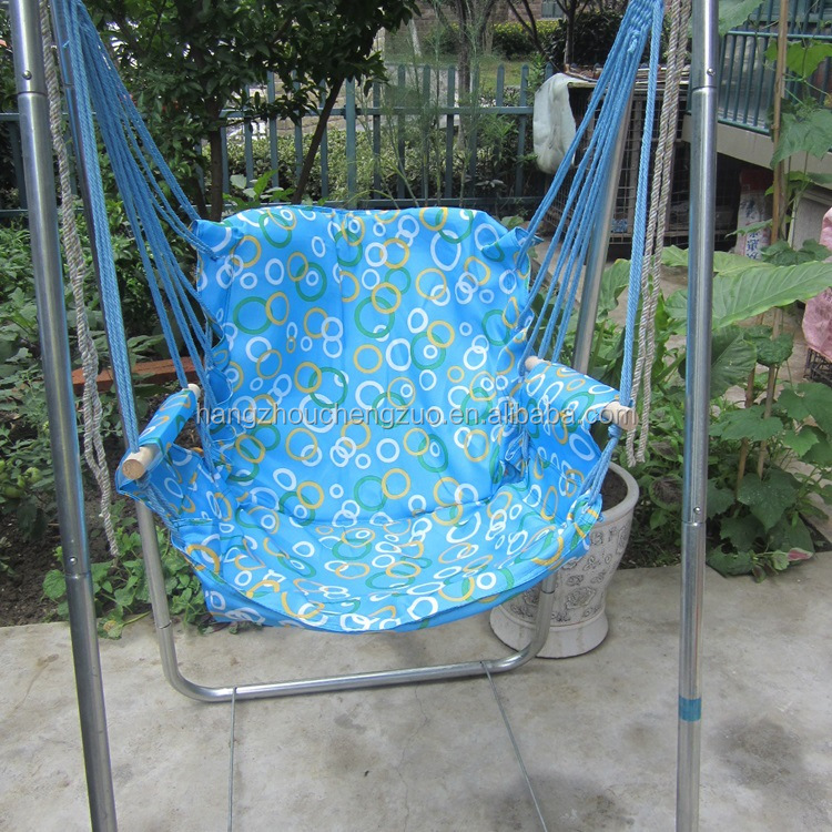 Parachute Canvas Garden Hanging Chair With Galvanized Steel Pipe Support  Stand,CZ 15B Garden