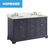 teak wood hotel bathroom furniture with double bowl