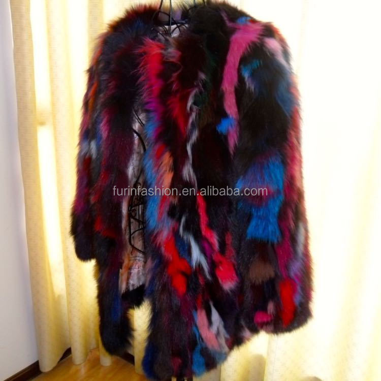 New Design Contrast Color Piece Real Fox Fur Coat for Fashionable Sexy Women