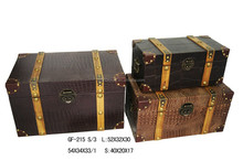 Faux PU leather wooden trunk