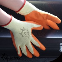 SRSAFETY yellow polyeter orange latex palm coated working glove