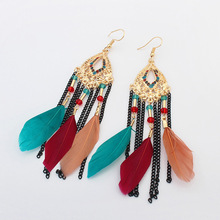 2017 New Women Fashion Jewelry Tassel Bohemia Style Feather Beads Chain Earrings