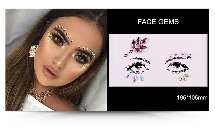 Sicherheit Festival Gesicht Makeup Edelsteine ​​Custom Face Jewels