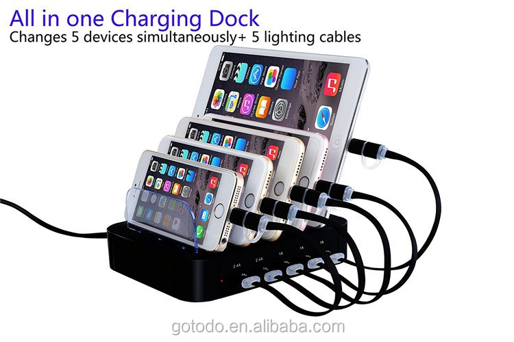 2017 Amazon multi 5 port usb charging station with usb hub for mobile phone smart phone