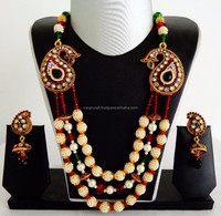 Wholesale pearl beaded Rani Haar - Indian handmade pearl necklace set - Traditional Pearl jewellery set - Imitation jewelry