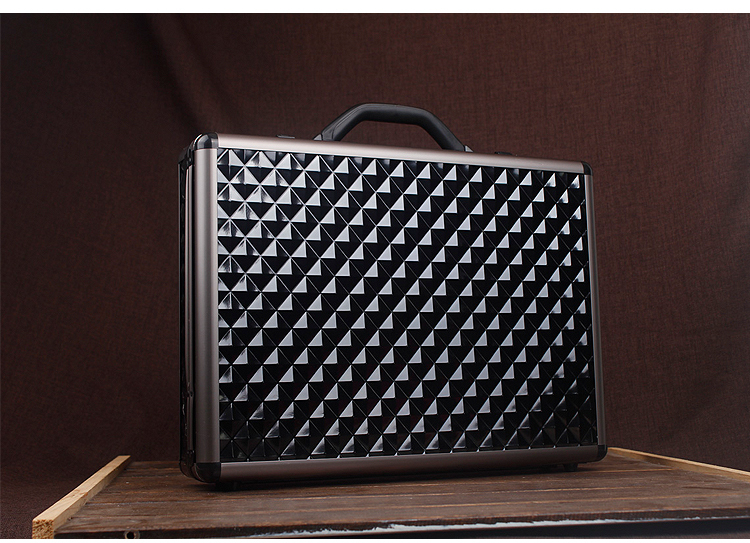Fashion Hard Document Envelope Black Argyle Men Lawyer Briefcase