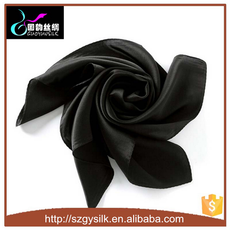 solid black silk satin 90*90cm square silk scarves