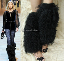 Wholesale Fashion Boot Cuff Fluffy Soft Mongolian Lamb Fur Leg Warmers