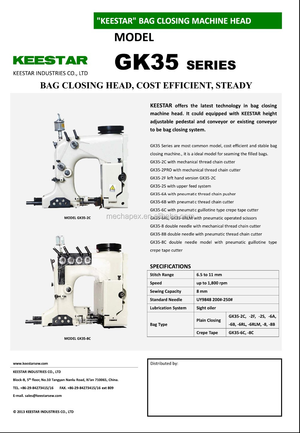 keestar GK35-6B Unionspecial automatic bag closer sewing machine