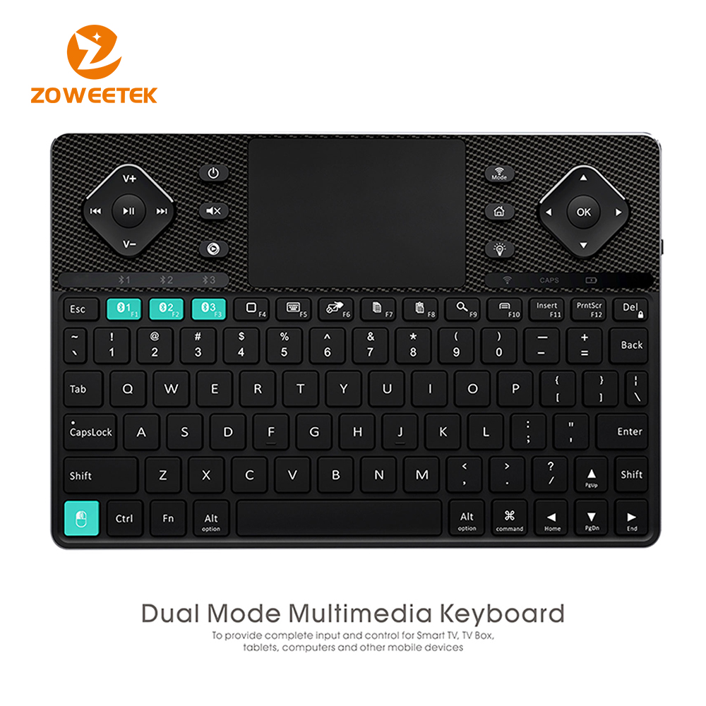 ZW-503 Dual-mode Bluetooth & RF wireless Ultra Slim Multimedia Backlit Keyboard With Touchpad Mouse & Aluminium Shell