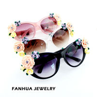 Spring Fashion Colorful Flower Plastic Frames Sunglasses with Free Glasses Box For Men and Women