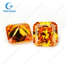 oragnle color square cut corner shape Cubic Zirconia Synthetic Diamond CZ stone