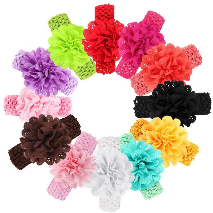 "100 Crochet Interchangeable 1.5/"" Stretch Headbands for Hair Bows /& Flower Clips"