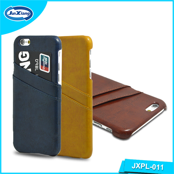 Wholesale Nice Finished Leather Cell phone case credit card holder case for iPhoen 6 Plus