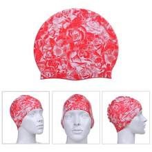 Customizable nylon injection mold soft textile silicone rose pattern swim caps