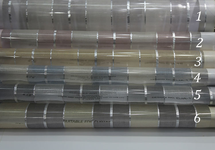 Wholesale Asian flame retardant hotel stripe tulle sheer curtain fabric drapery