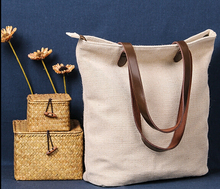 Top quality jute custom shopping bag leather handles