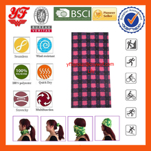 Neon Chequer Custom Cheap Wicking Multifunctional Seamless Polyester Neck Scarf for Coolman