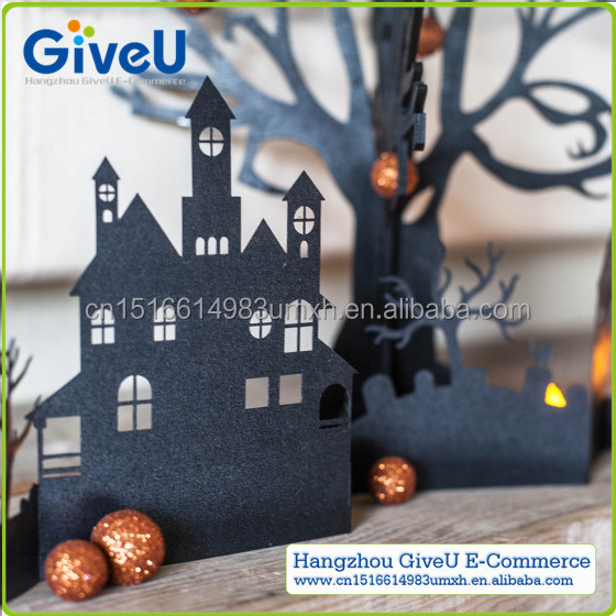 Black Color DIY Craft Halloween Paper Village for Halloween Party Decoration