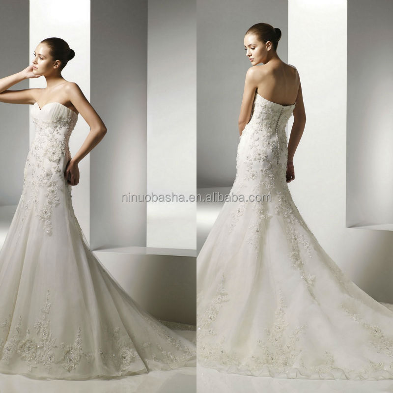 2014 Stylish Ivory Organza Mermaid Wedding Dress With Sweetheart Neckline Long Tail Lace Applique Beaded Bridal Gown NB0894