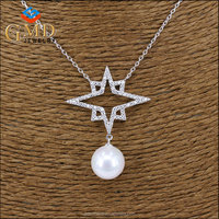 Women's accessories supplier top quality luxury silver 925 tin cup pearl necklace