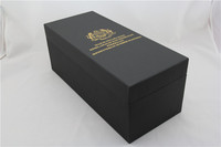 top quality black gift box with gold foil stamping cardboard packaging box