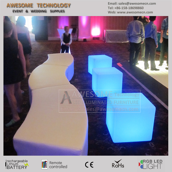 square cube and bench led illuminated GEO event furniture (cb600)
