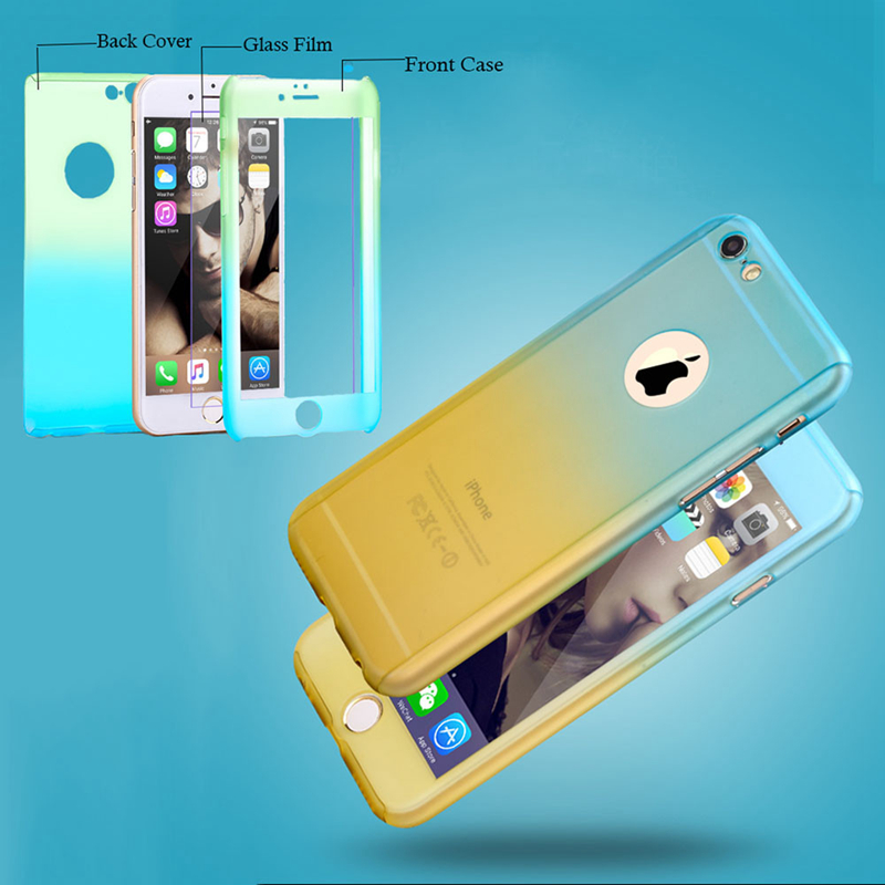 Full Body Protect Mobile Phone Case 360 Degree Plastic Full Covered Shockproof Case for iPhone 5 5s SE 6 6s 6s Plus