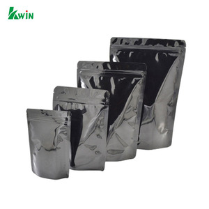Custom Printed Metalized Black Resealable Zip Lock Clear Stand Up Pouch Bag With Ziplock