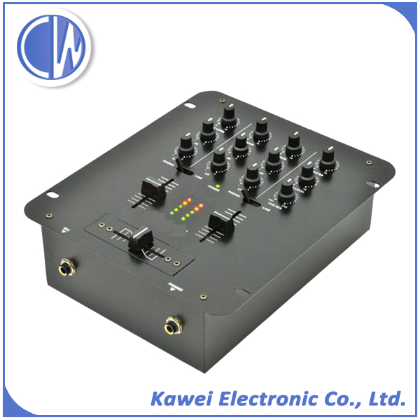 2 Channel dj usb mixer with 3 band equalizer for professional sound system