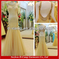 OC-2081 Manufacture direct hot sale gold dress gold evening dress malaysia online shopping