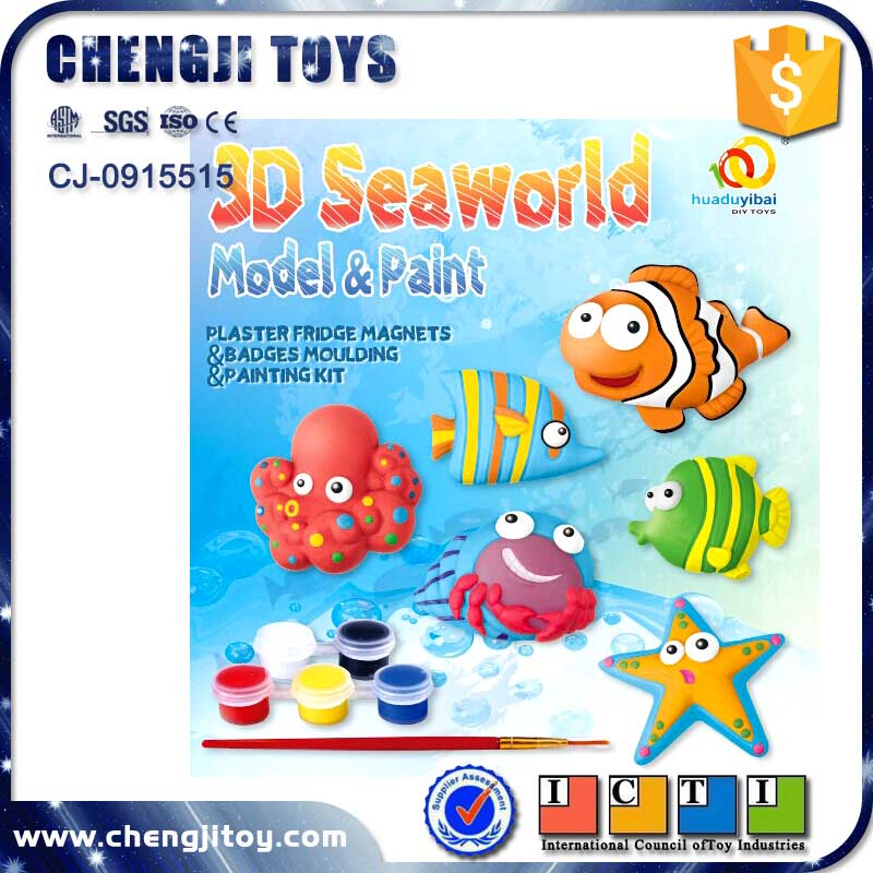 3D seaworld model paint set plaster painted toy diy craft kit