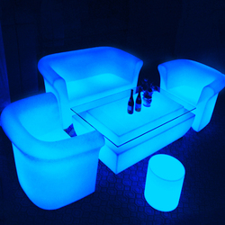 Protable plastic led light up outdoor furniture bar chair led table and chair set