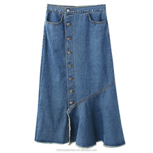 monroo Women Fashion Simple high waist Fishtail denim Skirt