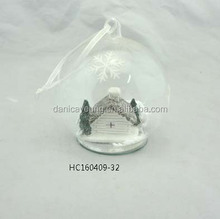 Promotional christmas glass ball ornament with white artificial house and tree inside