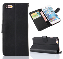 Crazy Horse Pattern Wallet Stand Genuine Leather Phone Case for iPhone 6 Plus
