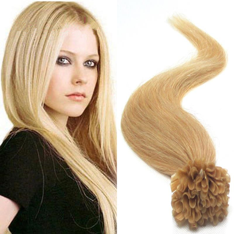 <strong>U</strong> Tip Remy Human Hair Extensions <strong>100</strong> Strands Brazilian Light Blonde Natural Keratin Fusion <strong>U</strong> Nail Tip Hair Extensions