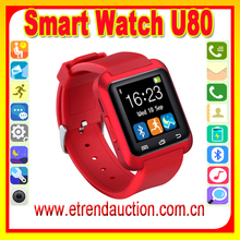 U80 Bluetooth Smart watch 2015 health smartwatch touchscreen black white red colors for choosing