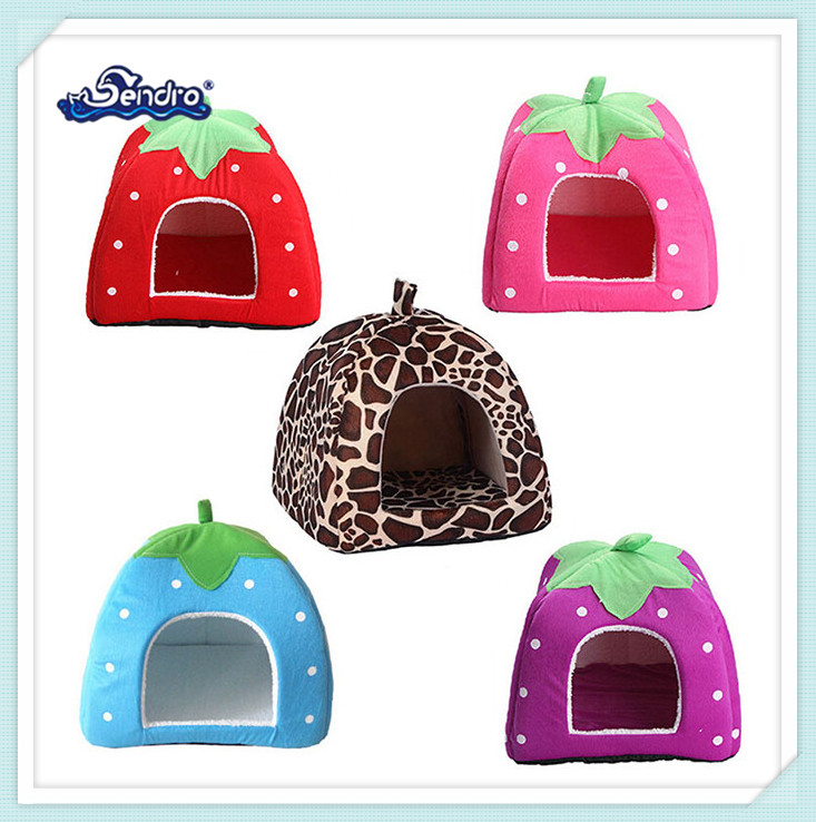 creative cute design fruit strawberry shaped plush pet dog house manufacturer