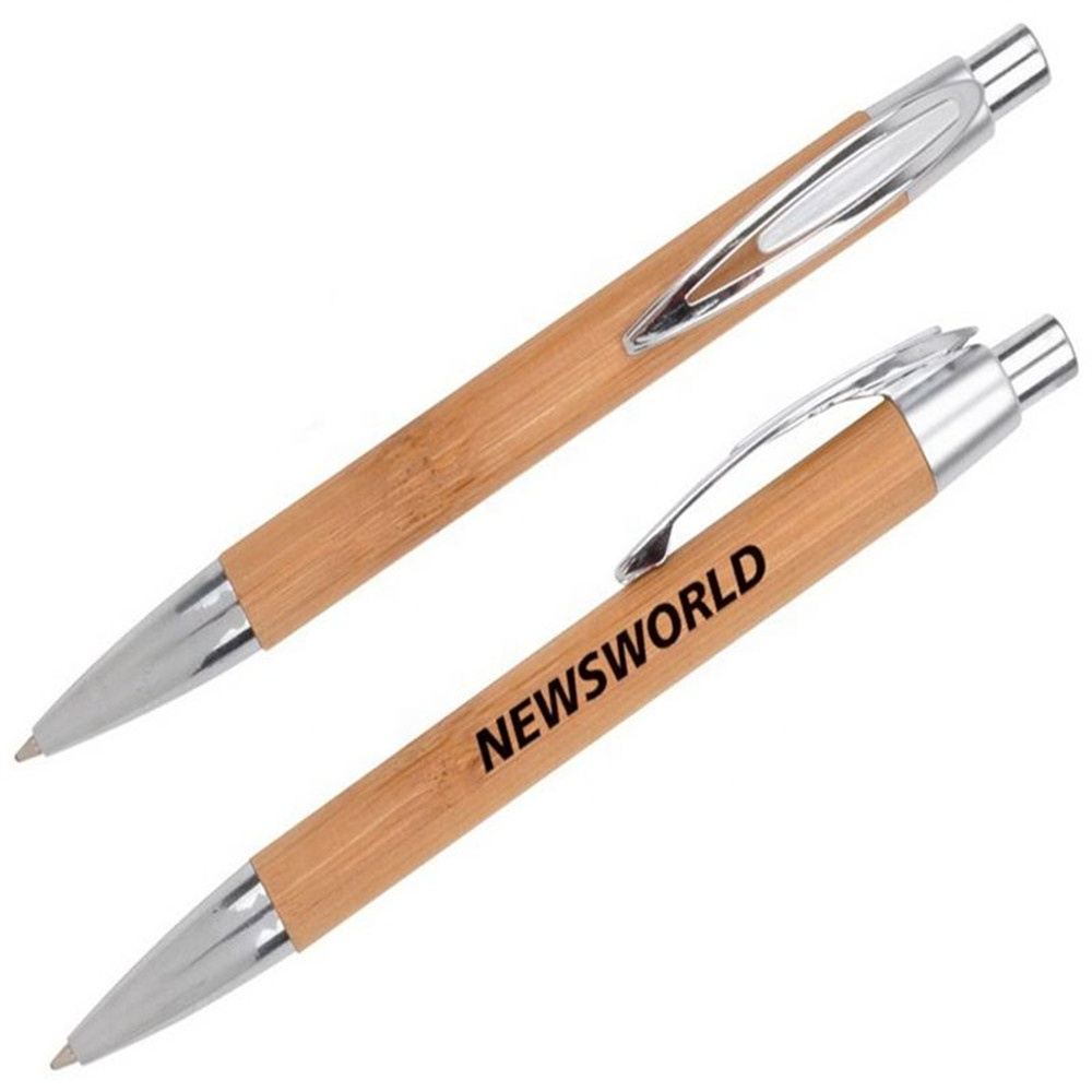 Eco-Friendly Natural Sustainable Bamboo Barrel Push Button and Tip Chrome Trims On Pocket Clip Logo Print Ballpoint <strong>Pen</strong>