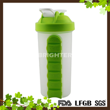 FDA LFGB PASSED Food Grade Plastic Water Bottle with Weekly Pill Organizer