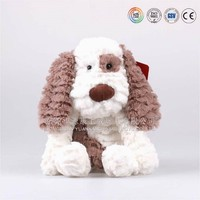 Long haired big ear white and brown stuffed dog toys