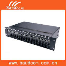 High quality SNMP managed rack mount media converter chassis