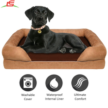 Waterproof Bolster Memory Foam Dog Puppy Cat Warm Bed House Plush Cozy Craft Pet Bed
