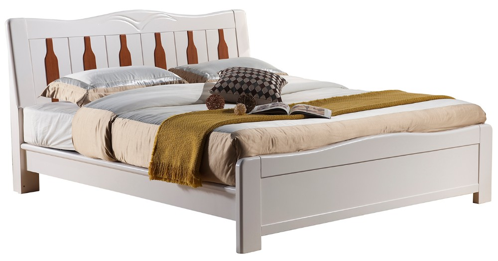 Simple solid wood bedroom furniture white double bed designs 3109