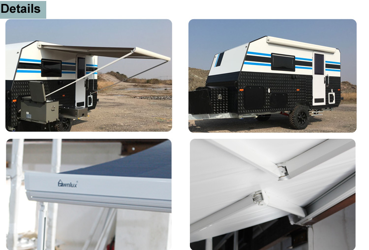 Waterproof retractable caravan awning