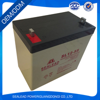 solar battery AGM dry cell charged lead acid battery 12v 55ah for electric starting